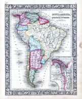 South America, World Atlas 1864 Mitchells New General Atlas